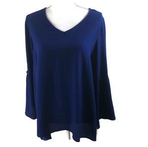 Style & Co Woman Bell Sleeve Royal Shirt Size 0X